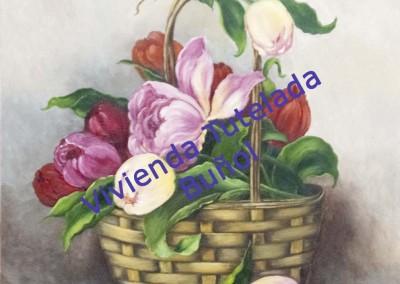 Cesta con Tulipanes