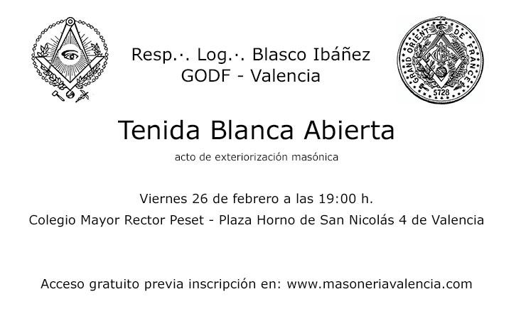Tenida Blanca Abierta - Logia Blasco Ibáñez